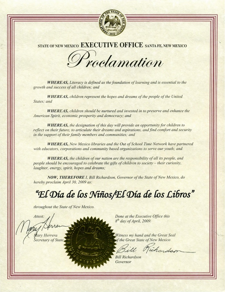 New Mexico proclamation