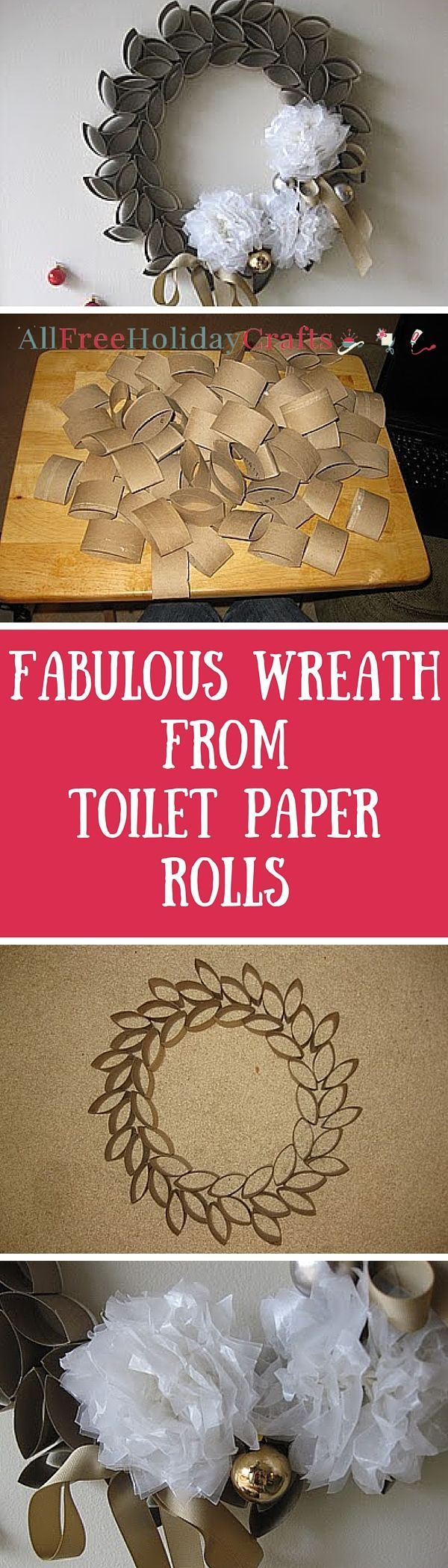 Recycled cardboard has never looked so good. If you're looking for simple homemade Christmas decorations to make this winter, you should learn how to make a Christmas wreath like this. Read more at http://www.allfreeholidaycrafts.com/DIY-Christmas-Decorations/Fabulous-Wreath-from-Toilet-Paper-Rolls#HIF6I1F1hKmVHqdR.99