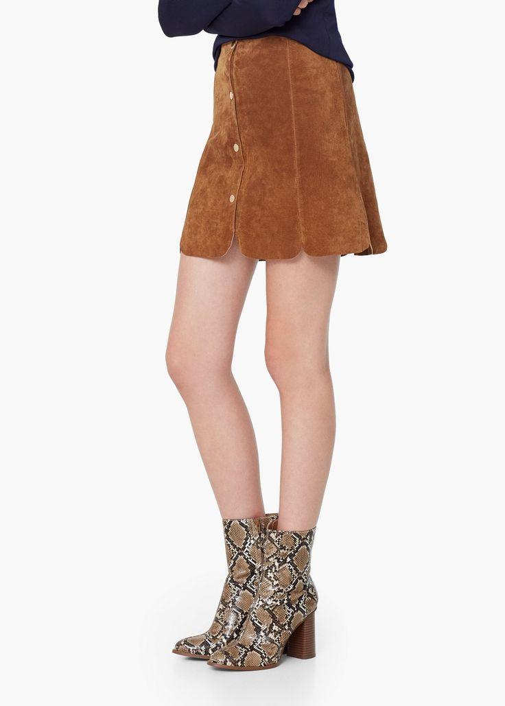 Falda serraje -  Mujer | MANGO