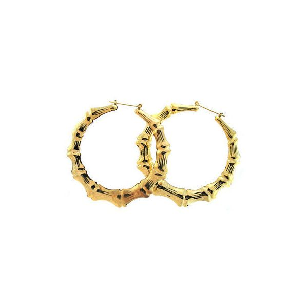 "3.5"" Bamboo Hoops Earrings ($5.99) ❤ liked on Polyvore"