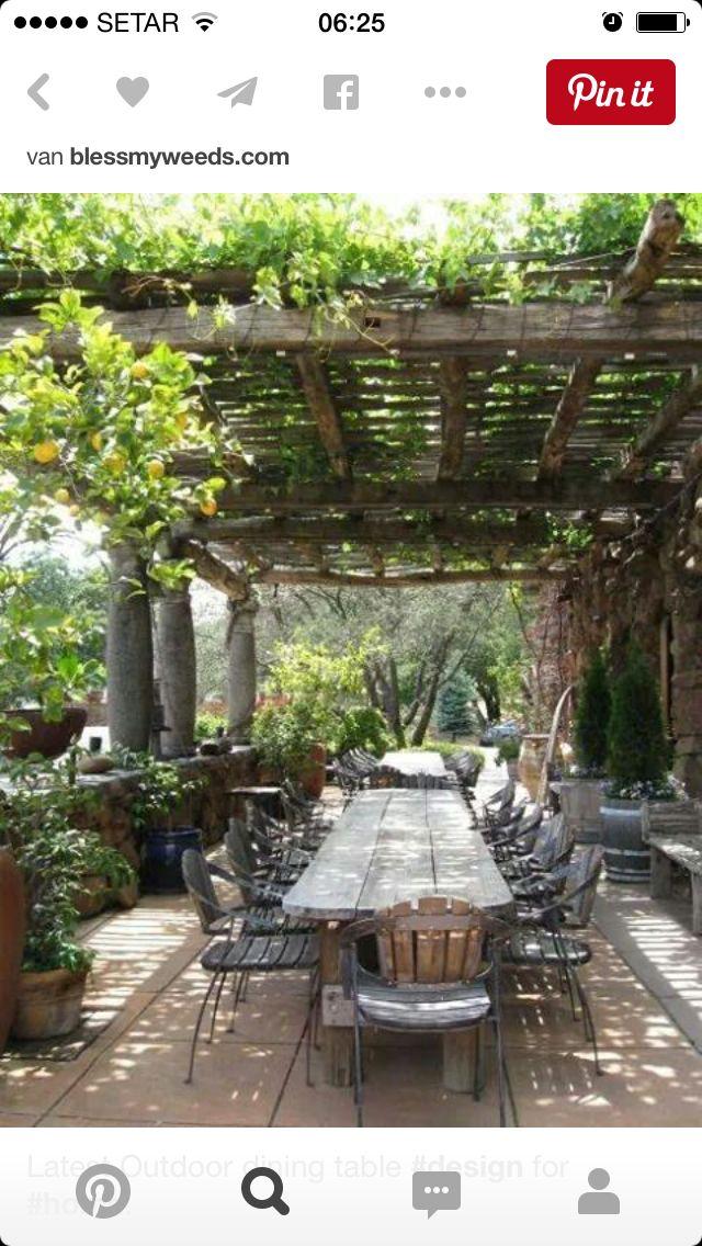 Rural Mediterranean style long farm table metalwood