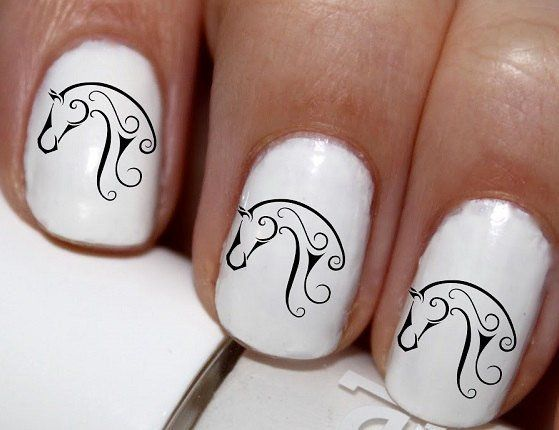 20 pc Horse Lover Horse Head Tribal Lines Horse Nail Art Nail Decals #cg666na