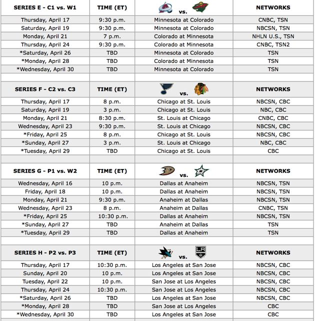 NHL - 2014 Playoff Schedule, Western Conference :)  #NHL