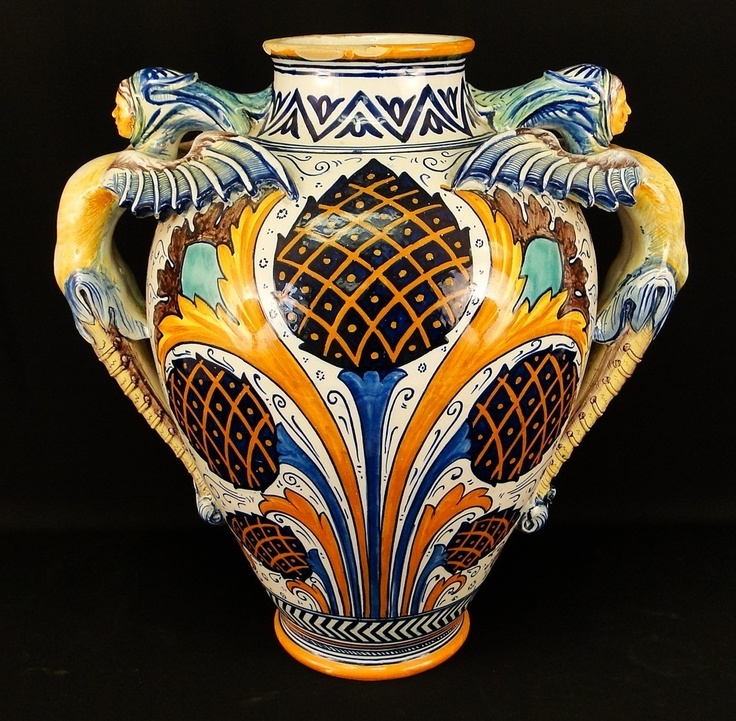 HUGE Cantagalli Italian Faience Majolica Winged Figures Art Pottery Vase. Great Quality, Cockrell Sig.