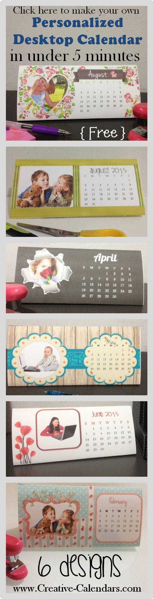 DIY desktop calendar printable - add your own photos with our free calendar maker - step by step instructions to make this calendar in under 5 minutes. 100% free!