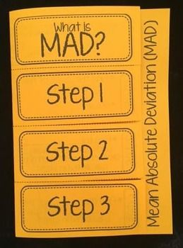 This foldable provides an introduction to Mean Absolute Deviation (MAD).  Students will take notes on the meaning of MAD, the steps for finding MAD, and complete 1 example.This works great whole group/ guided instruction, in math centers, as a class work/ homework assignment, or even as an exit slip.