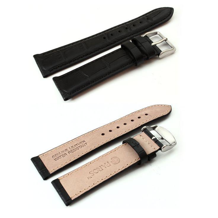 WatchStrap 22mm Black Crocodile Leather Strap W-22L-BLACK