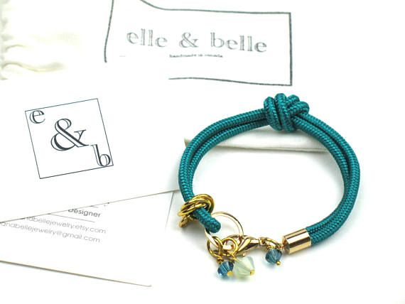 Green Rope Bracelet in Knotted Teal Mokuba Cord and Swarovski Crystal  Charms   Gift for Her by elle and belle Use code Pin15 for a 15% discount. 26ab45dcd