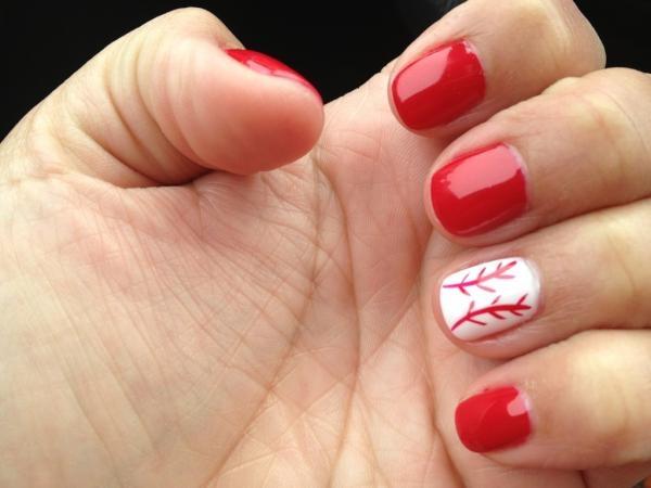 perfect for the game this weekend!: Softball Nails, Fingernail Ideas, Baseball Mom, Nails Design, Baseball Nails, Cardinals Baseball, Baseball Seasons, Cards Games, Baseball Games