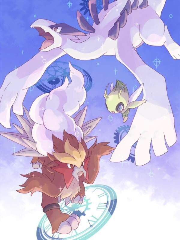 3 of my favorite legendary pokemon all this needs is mew <3