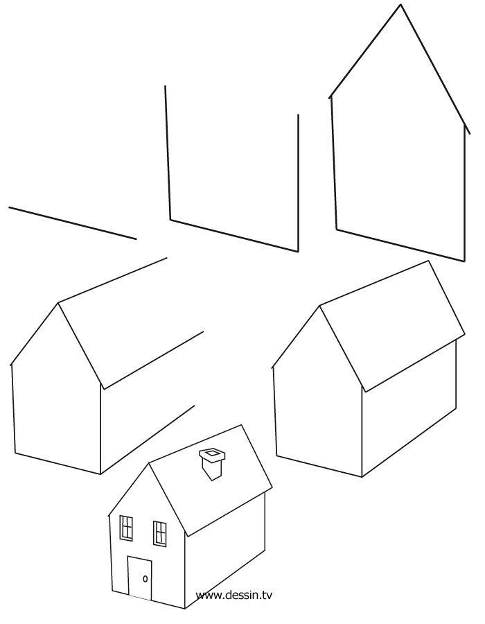 3345 best enfants images on Pinterest Drawing ideas, How to draw - dessiner une maison en 3d