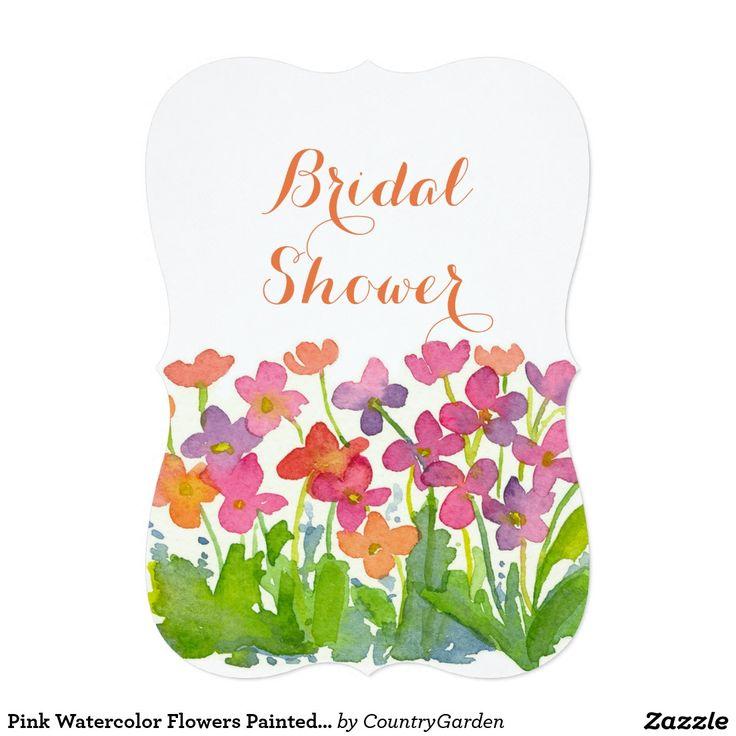 Pink Watercolor Flowers Painted Wildflower Card