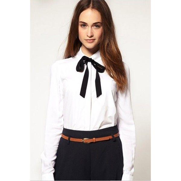 Preppy White Single-breasted Blouse with Contrast Black Bow Tie ...
