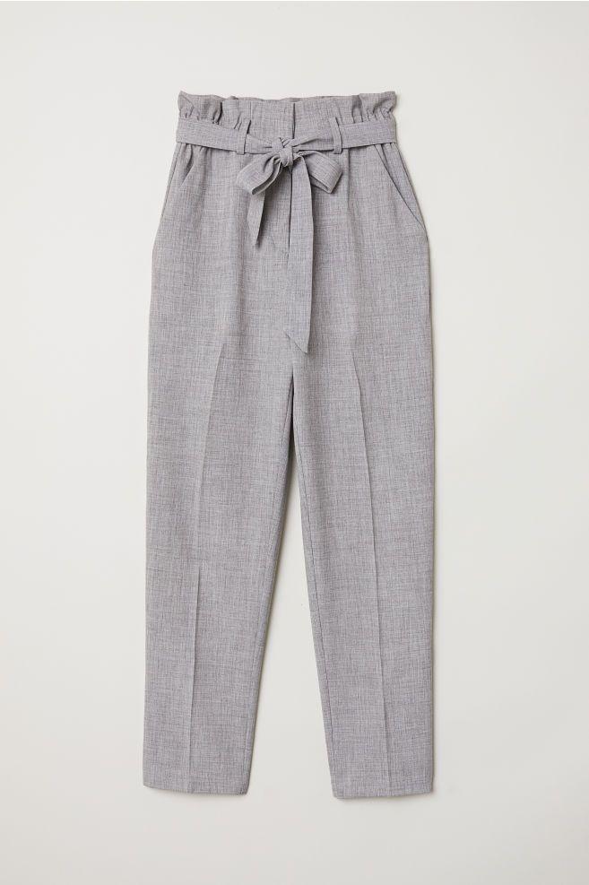 Pantalon Paper Bag Gris Jaspeado Mujer H M Es Pantalon De Tela Mujer Pantalon Lino Mujer Pantalones De Vestir Mujer