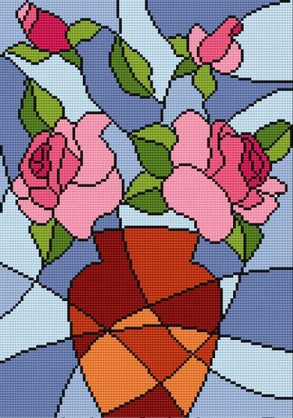 vitral jarron con rosas