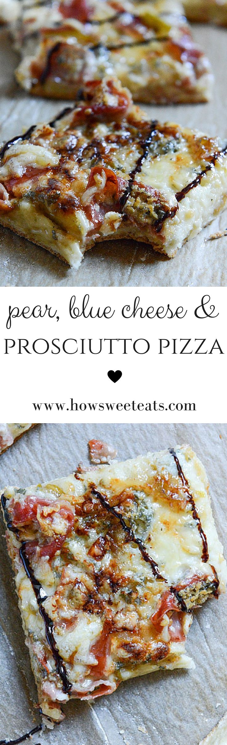 Caramelized Pear, Crispy Prosciutto and Blue Cheese Pizza I howsweeteats.com @howsweeteats #pizza