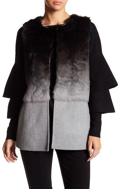 Love Token Ombre Genuine Dyed Rabbit Fur Vest