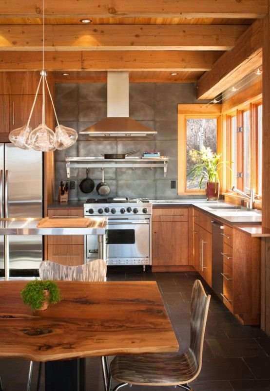 perfect kitchen for our house  http://housetrendfurniture.com/wp-content/uploads/2012/06/kitchen-furniture-Modern-Rustic-Wood-Resindence-Design-In-Colorado.jpg