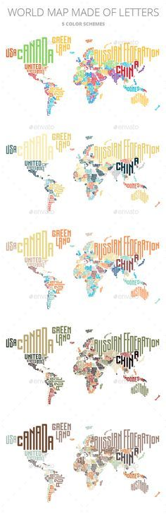 World Map Made of Typographic Country Names