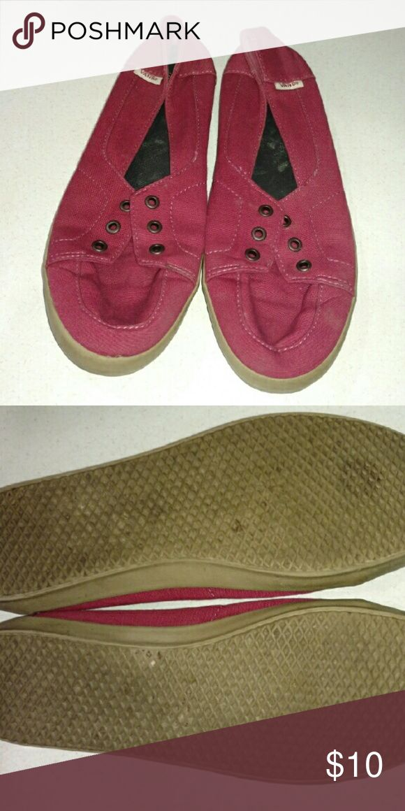 Womens vans surf slip on Maroon, size 8.5, good used condition, missing laces. (I'm sure you can get some at the Vans store. Vans Shoes Sneakers