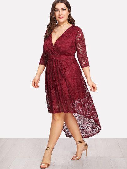 00ec681047 Plus Surplice Neck Dip Hem Lace Dress -SheIn(Sheinside) | ivanna ...