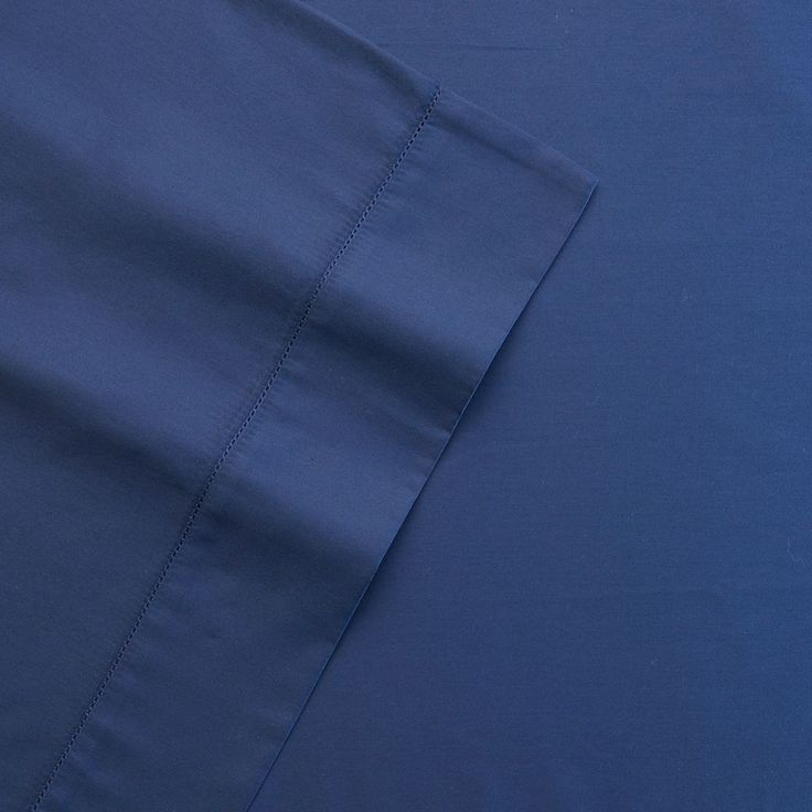 Grand Collection 400 Thread Count Hemstitch Solid Sheet Set, Blue Cal King (Navy)