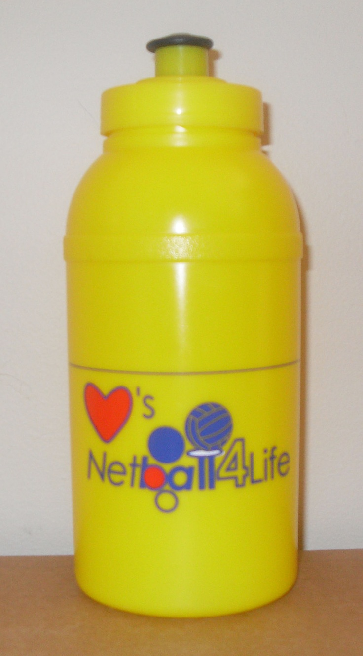 """This is the Netball4Life drink bottle. It includes a space to write a name so that it reads, for example, """"Amber loves Netball4Life"""". Capacity is 500ml and comes with a screw top. Price is $4 AUD plus postage (local pick-up available)."""