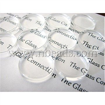Transparent Glass Cabochons, Flat Round, Clear, Size: about 25mm in diameter, 4.5mm(Range: 4~5mm) thick.<br/>Priced per 20 pcs