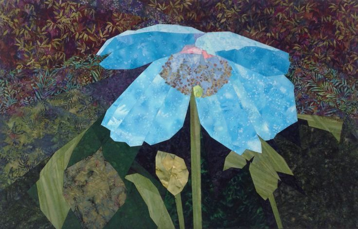 """The Blue Poppy I started this in a class I took from Ruth McDowell. It took me a few years to get back to it and finish it. 50""""x32"""""""