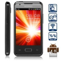 Android 4.0 Smart Phone with Dual SIM 3.5 inch HVGA Touch Screen WiFi Dual Cameras (Black)