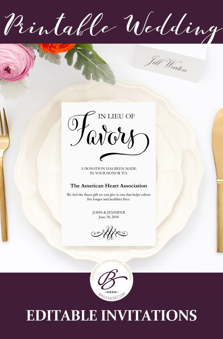 In Lieu Of Favors Card Donation For Your Favorite Charity Wedding Templates That Are Easy To Edit And Printable