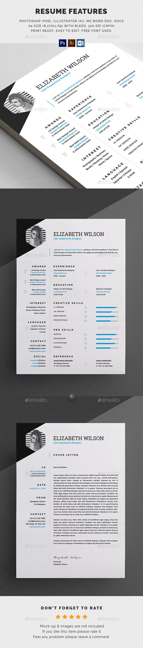 #Resume - #Resumes Stationery Download here: https://graphicriver.net/item/resume/20383166?ref=alena994