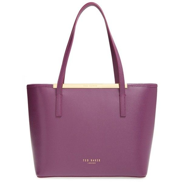 Ted Baker London 'Small Phoebie' Shopper ($255) ❤ liked on Polyvore featuring bags, handbags, tote bags, grape, zip top tote, leather tote, leather handbags, leather pouch and floral tote