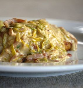 Chicken Fillet with creamy leek & bacon sauce - Julie Goodwin recipe
