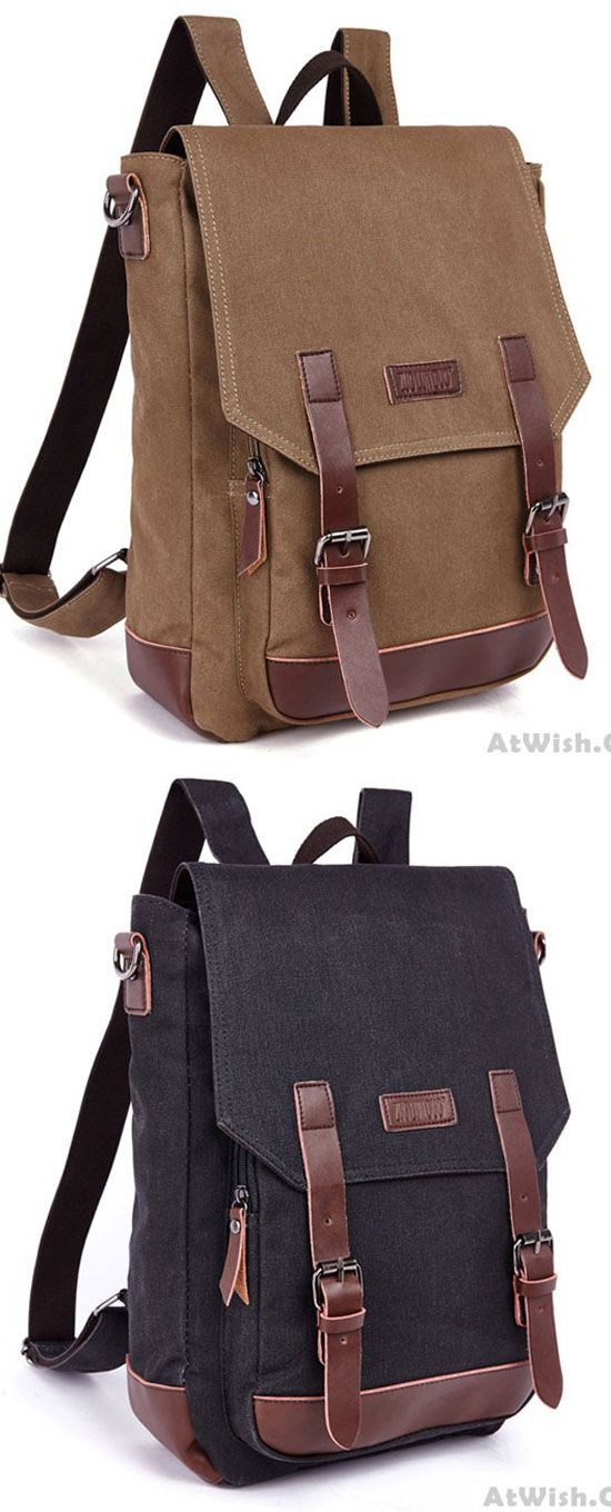 Leisure Splicing PU Belts Flap Travel Square Rucksack Laptop Bag School  Canvas Backpack only  38.99   Backpacks And Bags   Pinterest   Canvas  backpack, ... 233947b29e