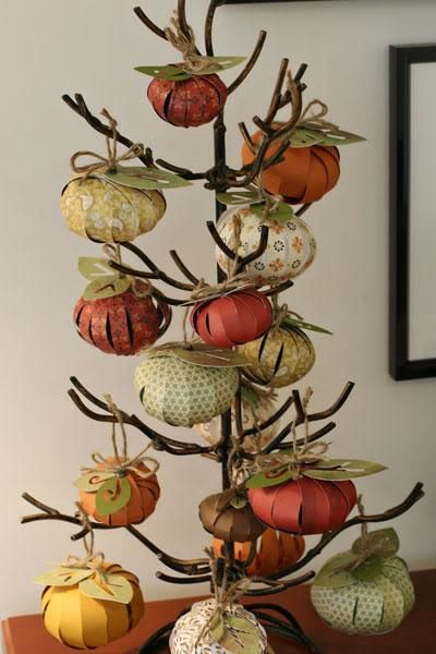 Make these cute pumpkins for a pumpkin tree (can use real branches instead of this metal one).