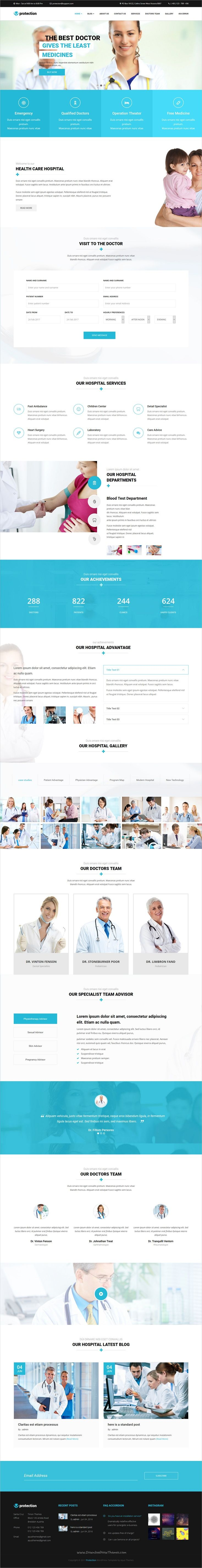 Protection is a wonderful 4in1 responsive #WordPress theme for #medical, health, #cosmetic #clinic or plastic surgery pharmaceutical websites download now➩  https://themeforest.net/item/protection-medical-health-responsive-wordpress-theme/18608984?ref=Datasata