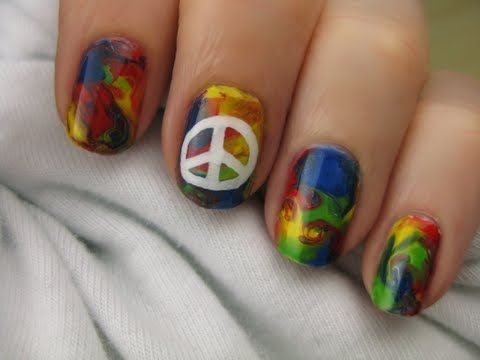 Remember back in the late 60's & 70's when Tie-dyed T-shirts & Peace sign patches were all the craze...That's the first thing these Tie-Dye Nails with Peace Sign   made me think of right away! Oh...The Freedom of the Good Ole' Days! Have fun doing these! Enjoy!  ~Kimberly Robyn