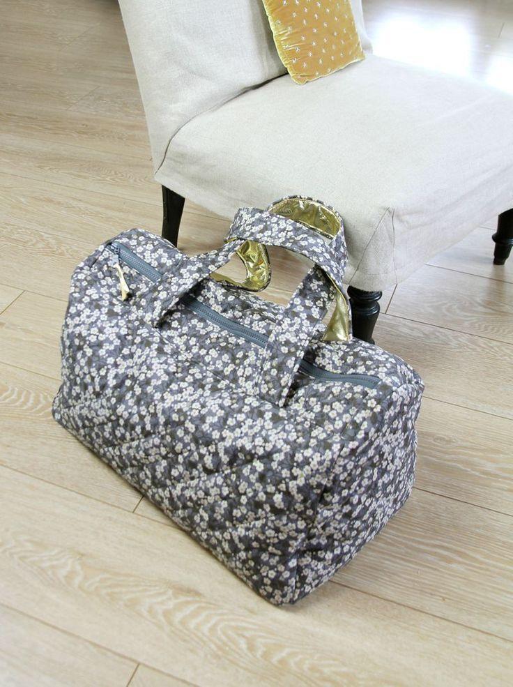 sac de voyage Milha Liberty molletonné + anses doublées de cuir d'agneau. par Barnabé aime le café