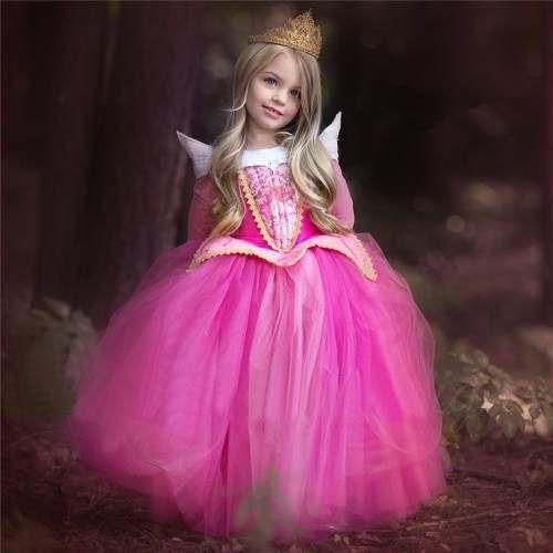 Fantasia Vestido Princesa Aurora Bela Adormecida Luxo Festa - R$ 139,00