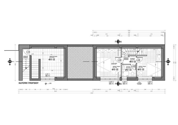 Small Weekend House 110 sqm in Polydrosos, Fokida, Greece, Basement Floor Plan - www.pzarch.gr