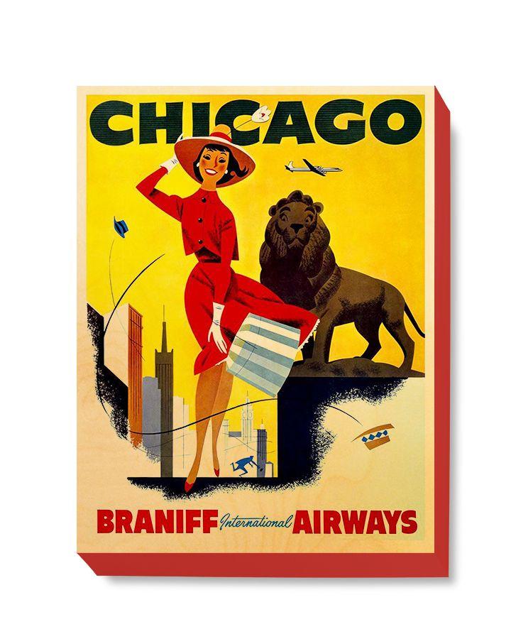 TRV 058 Travel Art Chicago Braniff
