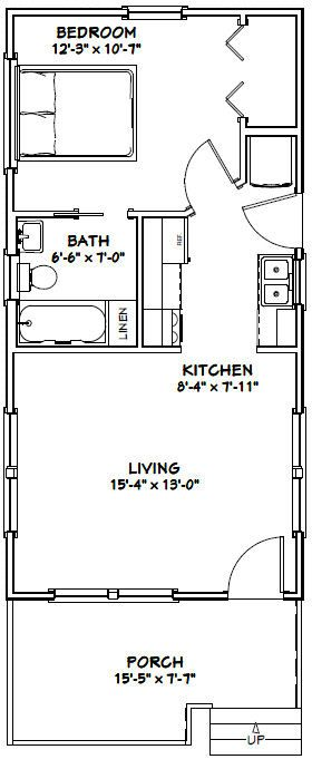 16x32 Tiny House -- #16X32H1C -- 511 sq ft - Excellent Floor Plans