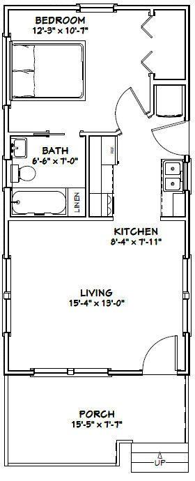 16x32 Tiny House -- #16X32H1C -- 511 sq ft - Excellent Floor Plans