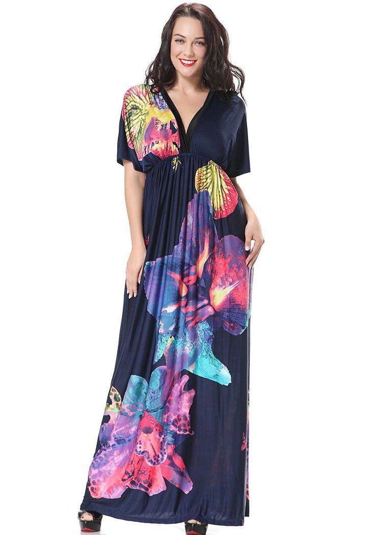 Zuku Life Women's Summer Deep V-Neck Versatile Long Floral Print Maxi Dress #009 | eBay