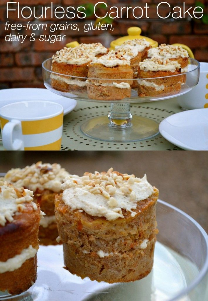 Flourless Paleo Carrot Cake with cashew cream frosting free from grains, gluten, dairy and refined sugars. This is a great low carb carrot cake alternative.