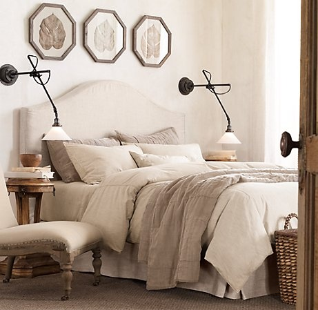 neutral bedding.. but with accent colors. not sure what the accent color will be: Lamps, Bedside Lamp, Neutral Beds, Restoration Hardware, Frames, Headboards, Colors, Neutral Bedrooms, Bedrooms Ideas