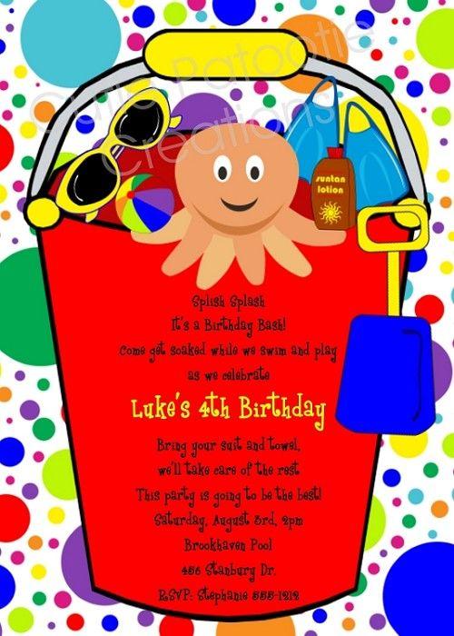 Beach Bucket Pool Party Birthday Invitations Birthday