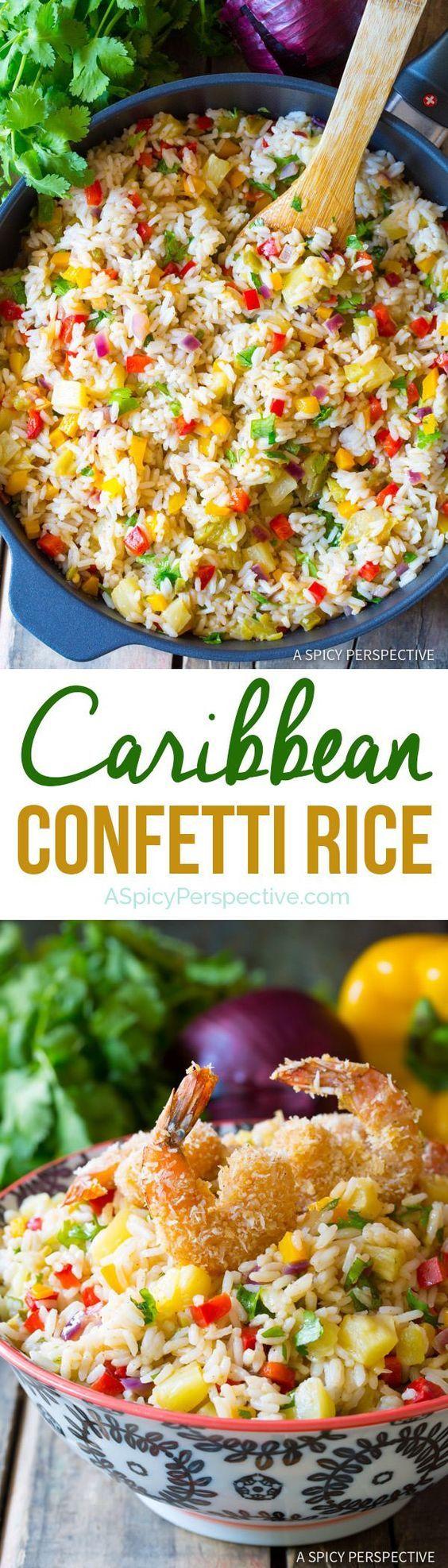 Fragrant Caribbean Confetti Rice Recipe | http://ASpicyPerspective.com