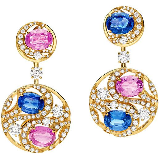 one of a kind earrings from high jewelry collection in 18k yellow gold with 6